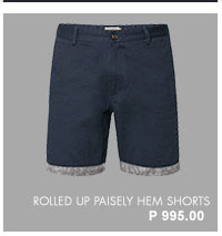 Rolled Up Paisely Hem Shorts
