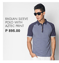 Raglan Sleeve Polo with Aztec Print