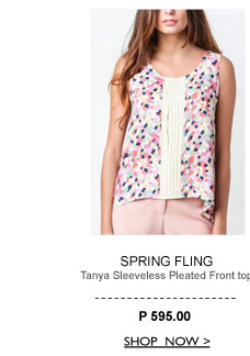 Tanya Sleeveless Pleated Front Top