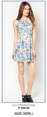 Cut In Printed Dress