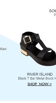 Black T-Bar Block Heel