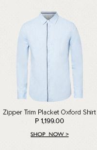 Zipper Oxford Shirt