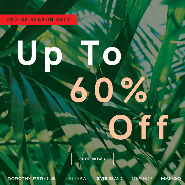 Save up to 60% off end of season sale + free shipping on orders over 40$ at Zalora.